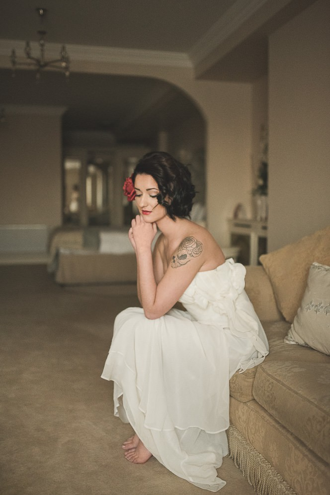 Alternative Natural Documentary Fine Art Wedding Photography Bride portraits in the Heritage Hotel Portlaoise 0016
